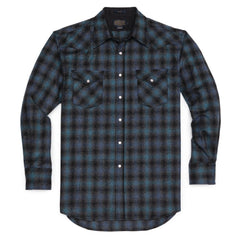Fitted Canyon Shirt  Blue & Black Ombre
