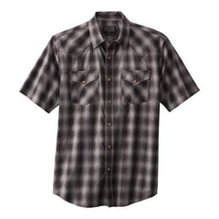 Short Sleeve Frontier Shirt <br> Brown & Blue Plaid