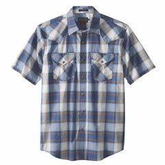 Short Sleeve Frontier Shirt  Blue Indigo Plaid