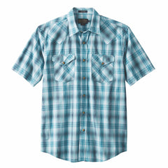 Short Sleeve Frontier Shirt  Teal & Blue Plaid