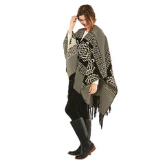 Tolovana Knit Blanket Shawl  Black & Tan