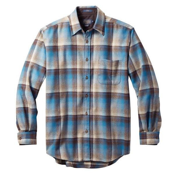 Fitted Lodge Shirt <br> Brown & Blue Ombré