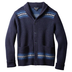 Magic Valley Shawl Collar Cardigan  Navy Diamond