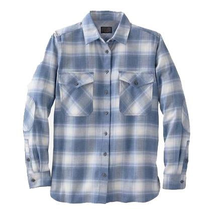 Double-Brushed Flannel Elbow Patch Shirt <br> Vintage Indigo Ombré