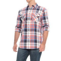 Beach Shack Twill Shirt  Blue Coral Plaid