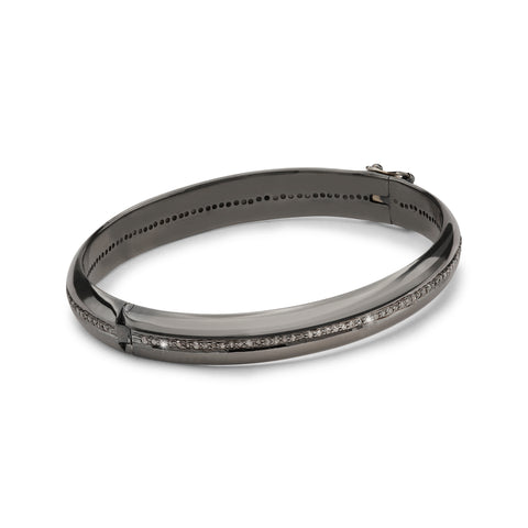 DIAMONDS, The wide 1-Line Bangle, dark