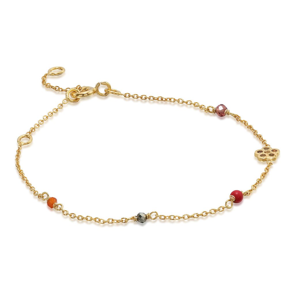 MEADOW, Breeze Bracelet, Gold/Red