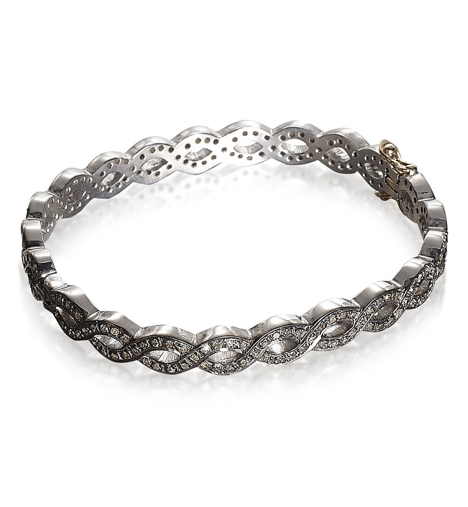 DIAMONDS, All Braided Bangle, Silver