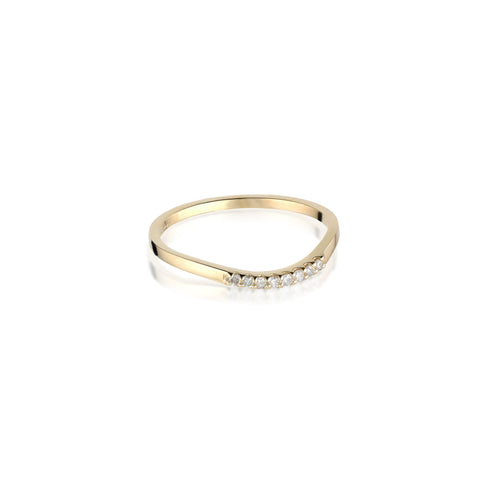 ALIGNED, Curve small 1/6-Line Ring, Gold/White