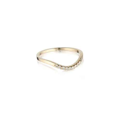 ALIGNED, Curve 1/6-Line Ring, Gold/White