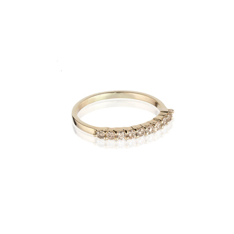 Aligned, 1/3 Line 2mm Ring, Gold/Champagne
