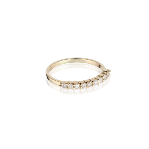 Aligned, 1/3 Line 2mm Ring, Gold/White