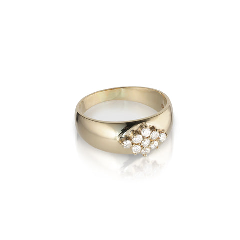 OLYMPIA, Dianysos Wide 9-Ring, Gold/White