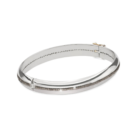 DIAMONDS, The wide 1-Line Bangle, Silver