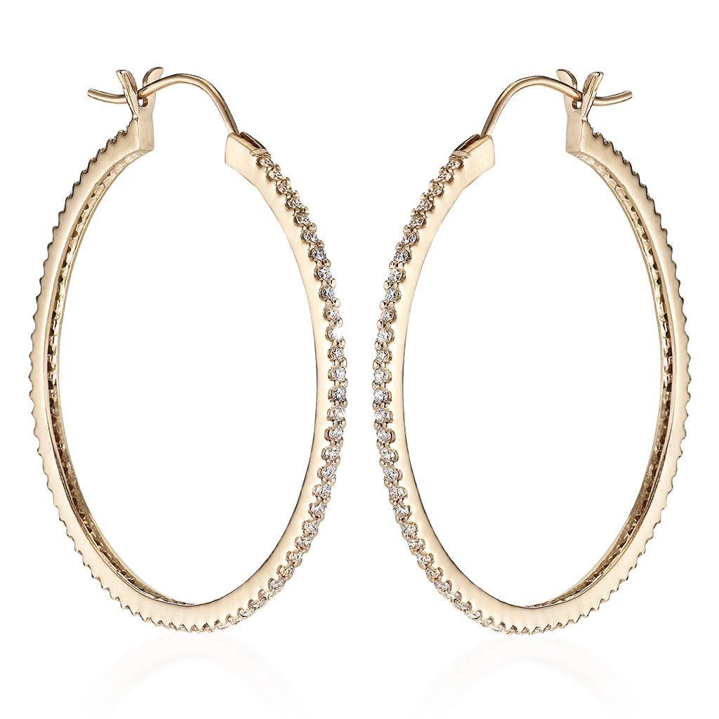 DIAMONDS, Large Hoops 40mm, Gold