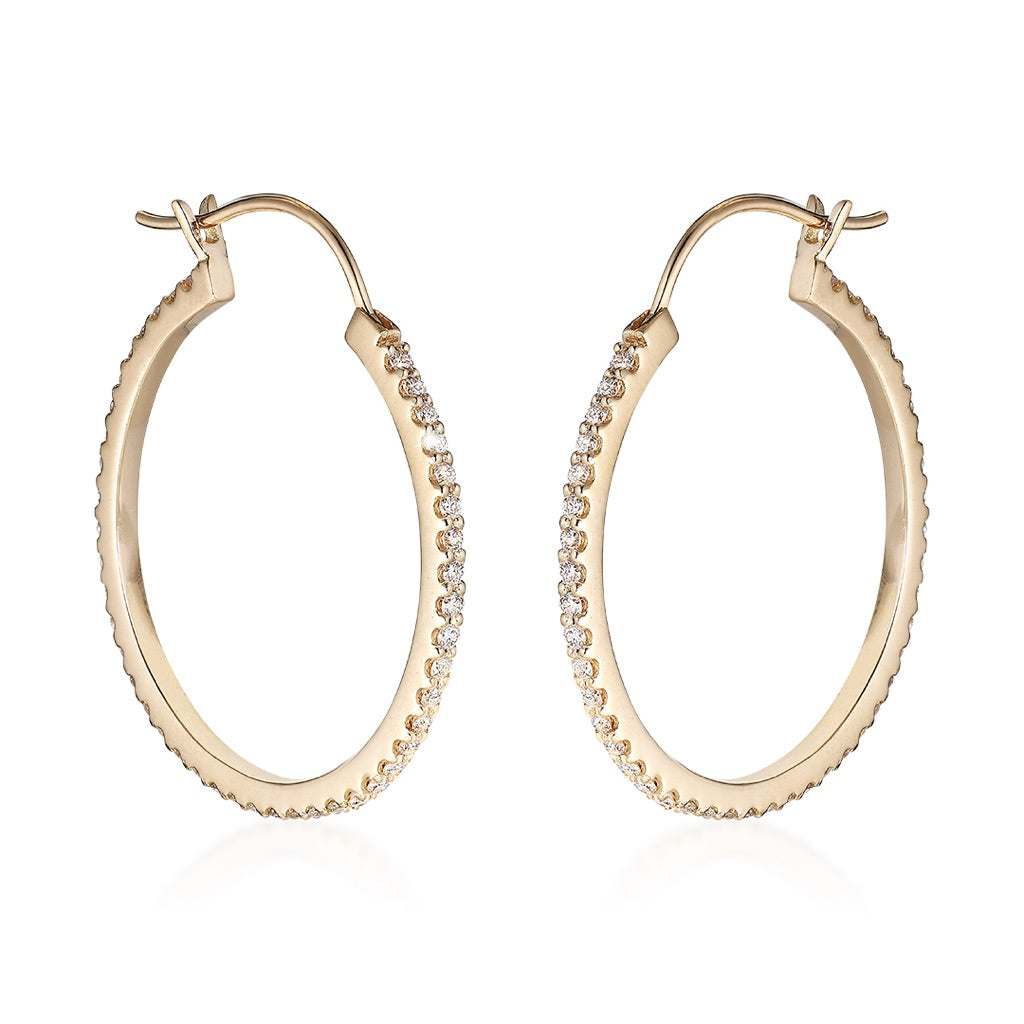 DIAMONDS, Medium Hoops 30mm, Gold