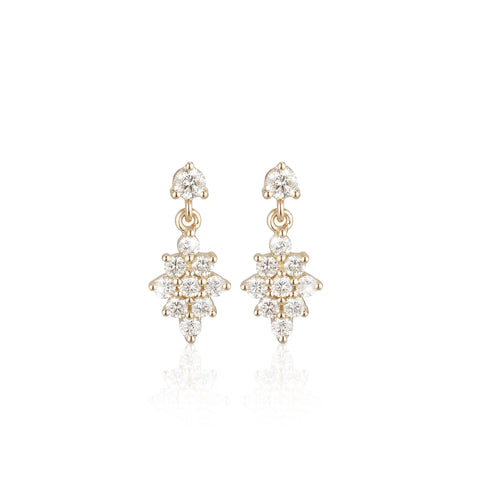 OLYMPIA, Dianysos Lux Earring 3mm Top, Gold/White
