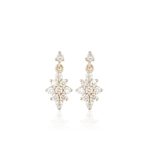 OLYMPIA, Dianysos Lux Earring 2mm Top, Gold/White