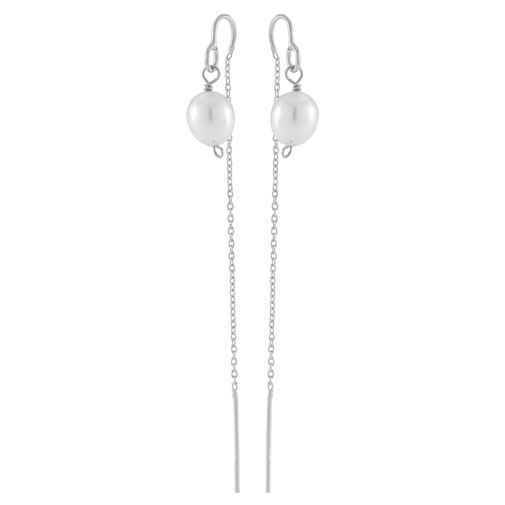 DROPS DELIGHT, Pearl plain Dangles, White Silver
