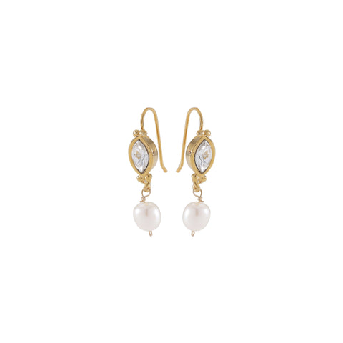 PEARL DELIGHT, Slim navette Earrings, White, Crystal, Gold