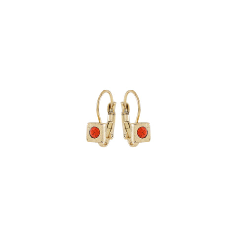 RENAISSANCE, Small square Earring, Coral Gold