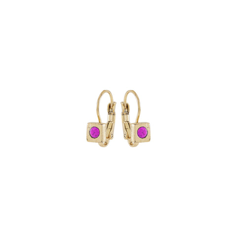 RENAISSANCE, Small square Earring, Pink Gold