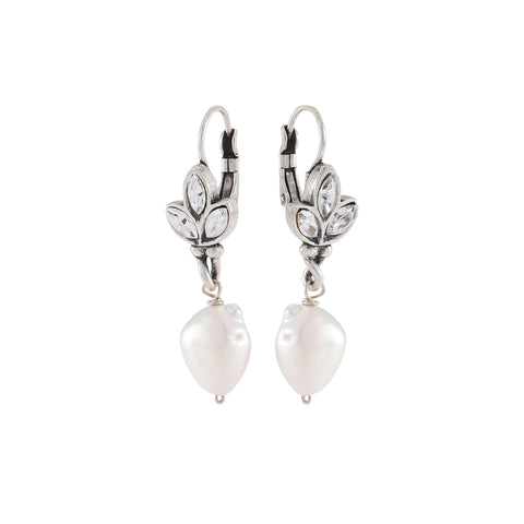 PEARL DELIGHT,  Tripple top drops, White, Crystal, Silver