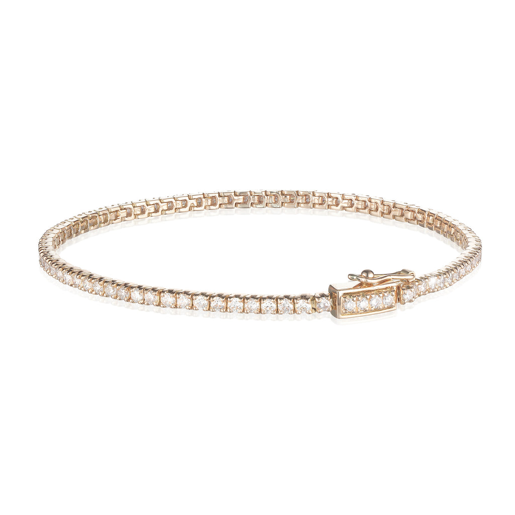 Aligned, Tennis 2mm Bracelet, Gold/White