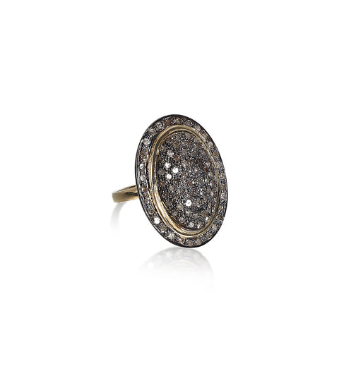 DIAMONDS, Large Oval Gold Lined Ring