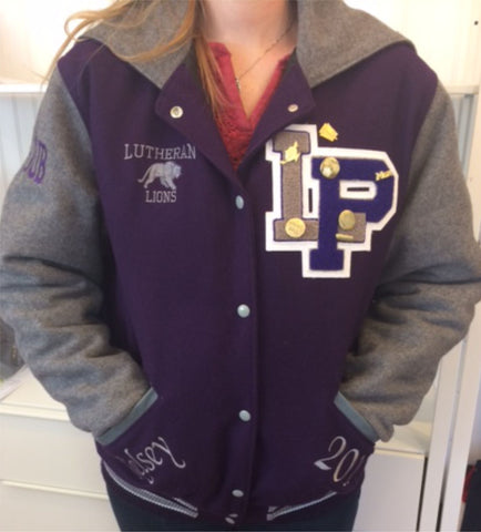 Lutheran high school letter jackets monograms by k k lutheran high school letter jackets spiritdancerdesigns Choice Image