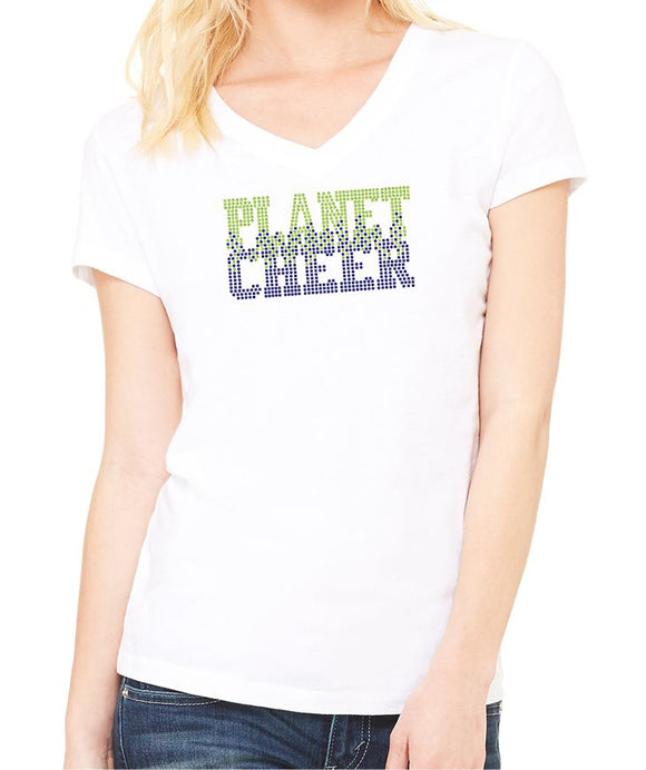 Planet Cheer Ladies' Bleeding Short-Sleeve V-Neck - Monograms by K & K