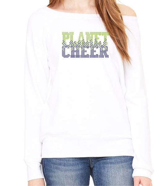 Planet Cheer Ladies' Bleeding Wide-Neck Fleece Sweatshirt - Monograms by K & K
