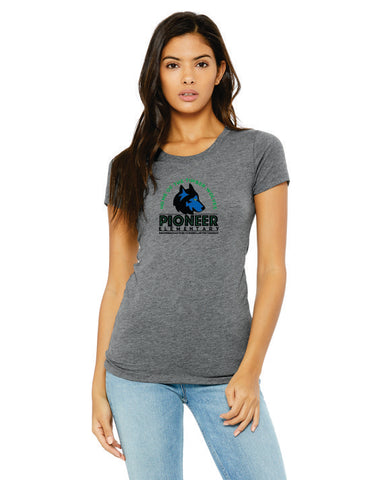 Pioneer Elementary Ladies Tri-Blend Tee - Monograms by K & K