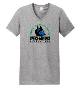 Pioneer Elementary Adult V-Neck T-Shirt - Monograms by K & K