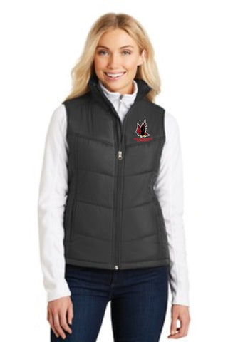 Red Hawk Ridge Ladies Puffy Vest - Monograms by K & K