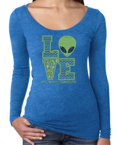 Planet Cheer Ladies' Love Long-Sleeve Scoop Neck - Monograms by K & K