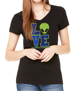Planet Cheer Ladies' Love Short-Sleeve V-Neck - Monograms by K & K