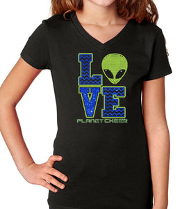 Planet Cheer Youth Love Youth V-Neck Shirt - Monograms by K & K