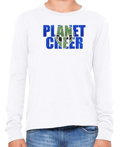 Planet Cheer Youth Alien Head Long-Sleeve T-Shirt - Monograms by K & K
