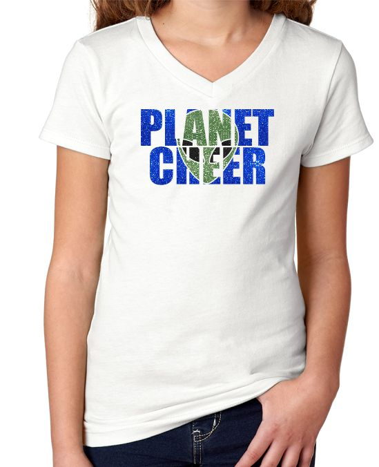 Planet Cheer Youth Alien Head Youth V-Neck Shirt - Monograms by K & K