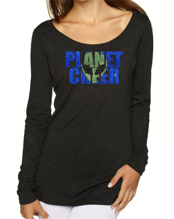 Planet Cheer Ladies' Alien Head  Long-Sleeve Scoop Neck - Monograms by K & K