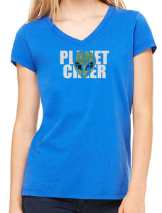 Planet Cheer Ladies' Alien Head Short-Sleeve V-Neck - Monograms by K & K