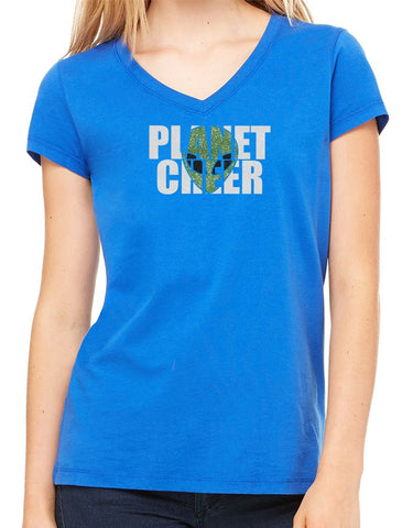 Ladies' Alien Head Planet Cheer Short-Sleeve V-Neck