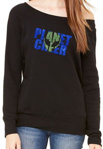 Planet Cheer Ladies' Alien Head Wide-Neck Fleece Sweatshirt - Monograms by K & K