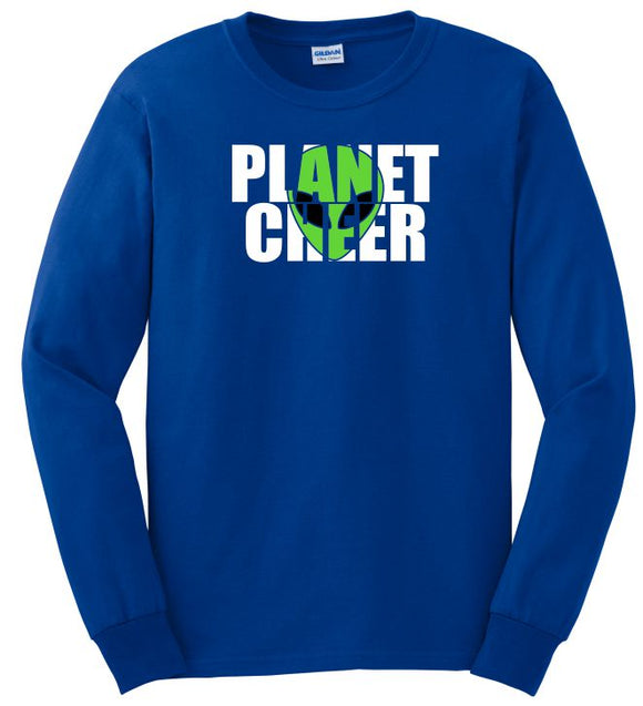 Planet Cheer Long-Sleeve T-Shirt Adult Alien Head - Monograms by K & K