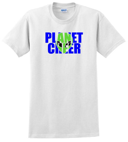 Adult Alien Head Planet Cheer Short-Sleeve T-Shirt