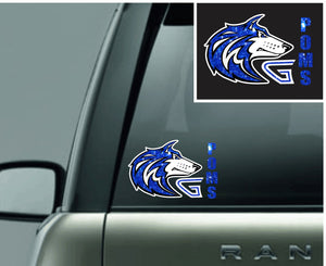 Grandview Poms Glitter Car Decal - Monograms by K & K