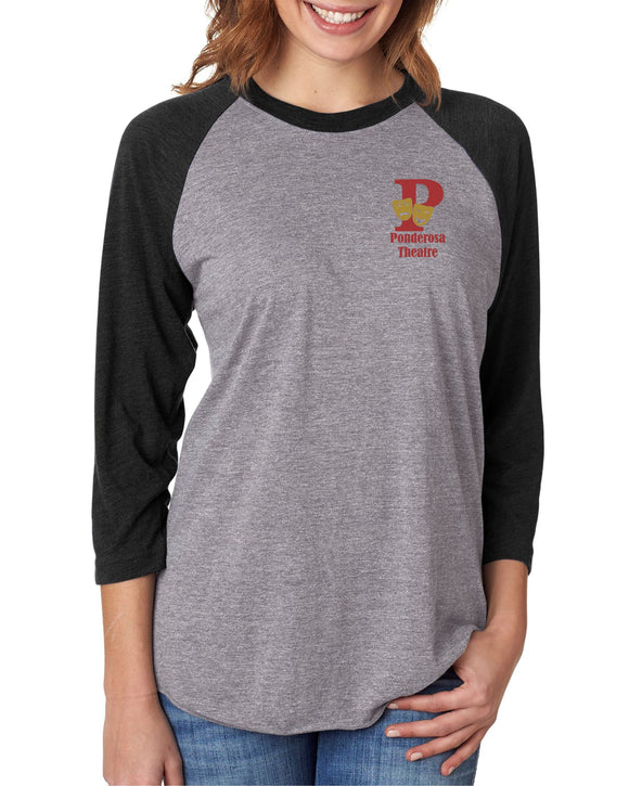 Ponderosa Theatre Tri-Blend 3/4-Sleeve T-Shirt - Monograms by K & K