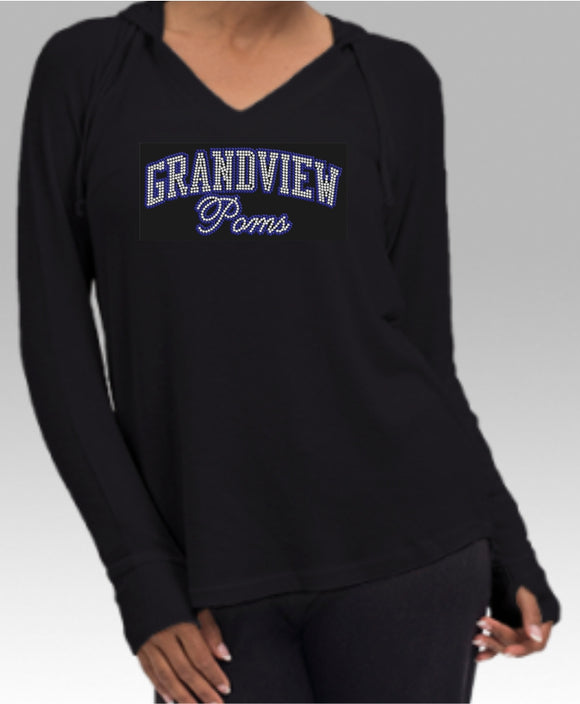 Grandview Poms Ladies Cuddle Hoodie - Monograms by K & K