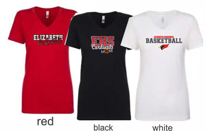 Elizabeth Basketball Ladies V-Neck - Monograms by K & K